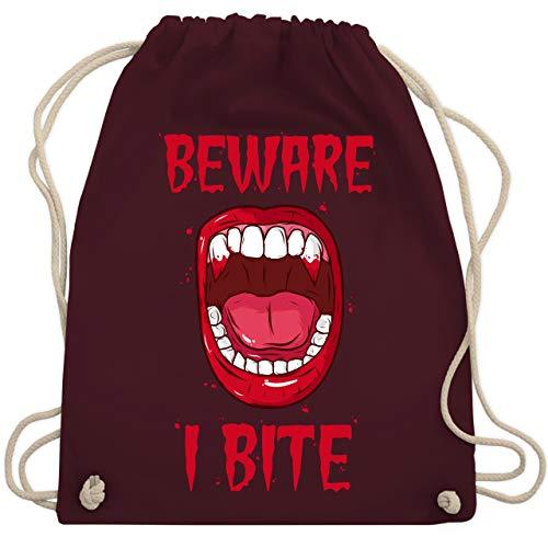 (Halloween - Beware - i bite - Unisize - Bordeauxrot - WM110 - Turnbeutel & Gym Bag)