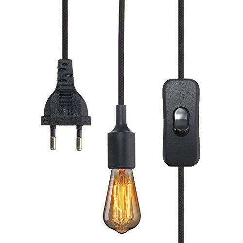 KINGSO Edison Lustre E27 110-250V Adaptateur De Douille en Silicone Lustre Rétro Mordern avec 3m Fil et Interrupteur à Prise Européenne Noir