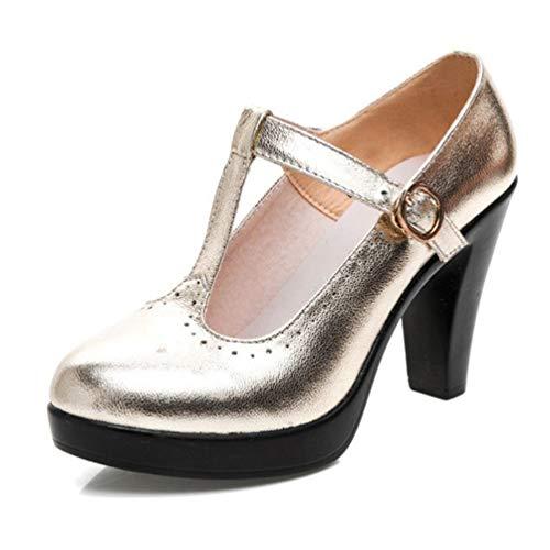 Frauenplattform Mary Jane Schuhe Medium Ferse T Strap Schnalle Pumps rund um die Zehen-High Heels