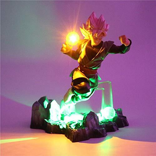 Dragon Ball Z Son Goku Lámpara de mesa Iluminación decorativa Anime Lámpara DIY Figura de acción Lámpara de mesa Niños Niños Juguete de luz LED, verde