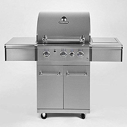 Duro NXR 3 Grillstation aus 304Edelstahl, Gasgrill mit seitlichen Brennern und Abdeckung, ideal für Grillen im Sommer