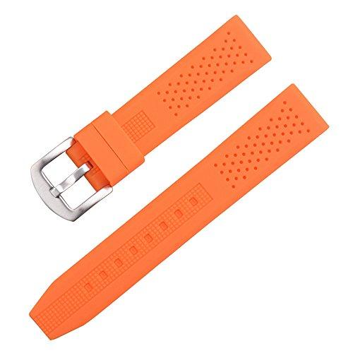 AUTULET Herren Kautschuk Uhrenarmband Orange 24mm