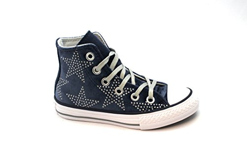 chaussures CONVERSE fille bleu marine gray gray 658882C all star lacets mi Blu