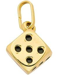 Gold 8 k ( 333 ) Motiv - Anhänger - Würfel - B. 7,3 mm - H. 7,3 mm