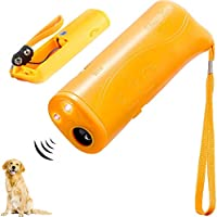 Duanmei Portátil de Mano con LED Ultrasonic Pet Dog Repelente y Dispositivo de Entrenamiento 3 en 1 Anti Bark Dog Repelente Stop Bark Herramienta de Entrenamiento de Perros Dog Trainer Dog Repellent