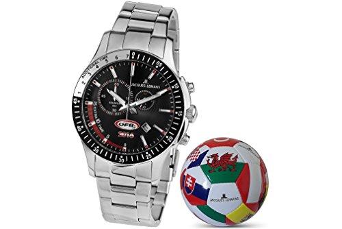 Jacques Lemans Herren Analog Quarz Uhr mit Edelstahl Armband 1-1897A