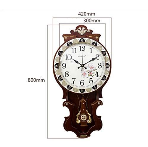 CHLFZSGZ Estilo salón Comedor Reloj de Madera Retro Creativo Reloj de Pared Mute Dormitorio Reloj Mesa Antiguo Reloj de Cuarzo 16 Pulgadas (Color : Brown)