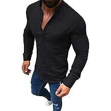 Blusa de Hombre BaZhaHei Camisetas de Hombre Abierta de Color sólido Lino Casual para Hombres del