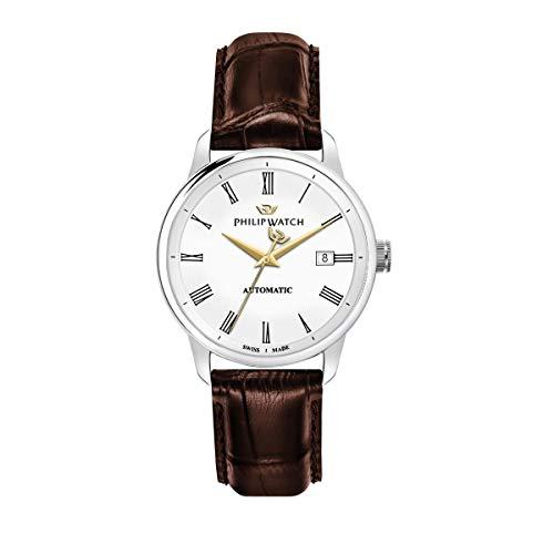 Philip Watch Montre pour Homme, Collection Anniversary, avec Mouvement Automatique et Fonction á Trois Aiguilles avec Date, en Acier et Cuir - R8221150001