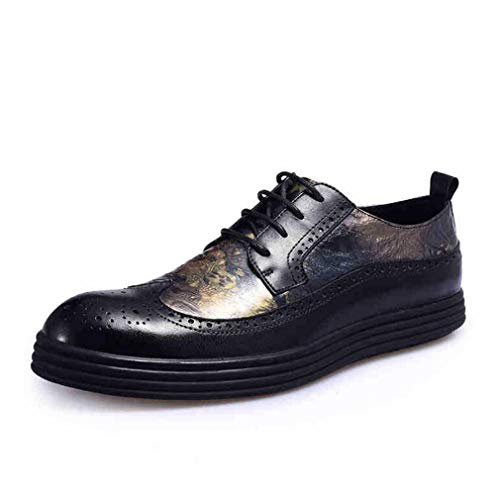 Hy Chaussures de Loisirs pour Hommes, Cuir Automne-Hiver Automne-Hiver Chaussures Basses Brillantes Tide Flow Personality - Plate-Forme