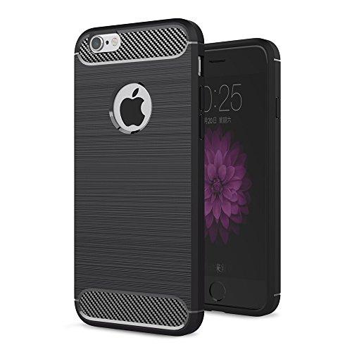 für Apple iPhone 5 / 5s / SE Schutz Hülle Cover | SCHWARZ Carbonfibre Case | Weich TPU Silikon Tasche Scale | Dünn Armor Handyhülle Schwarz