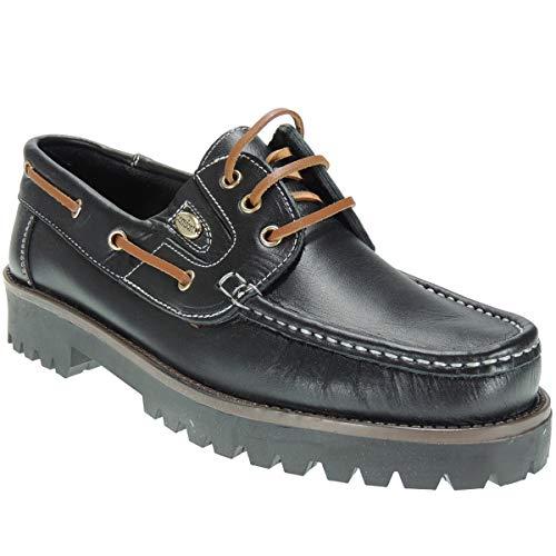 Elegance 802 Náutico Piel con Cordones y Piso Grueso de 3,5 Cm para Hombre Negro Talla 42