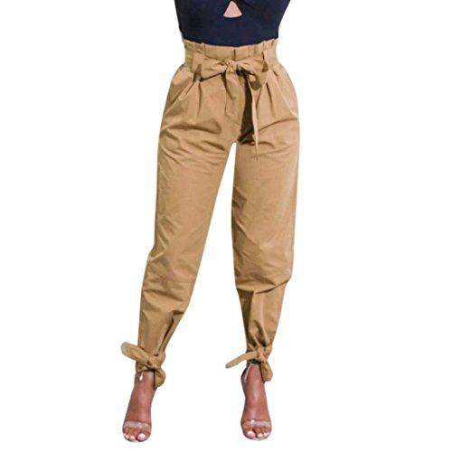 TUDUZ Damen Hosen Elegant High Waist Stretch Skinny Hosen Pants Casual Streetwear Pants Hosen mit Tunnelzug (Khaki, S) (Baumwolle Schlaf-hose Feste)