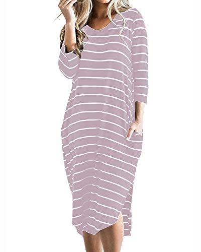 CNFIO Sommerkleid Damen Elegant Kleider V-Ausschnitt 1/2 Ärmel Einfarbig Shirt Design Kurz Blusenkleid Minikleid Strand Kleider (C-Rosa, EU46) - Damen Langarm Kleid Shirt