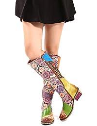 Gracosy Bottes Hautes Femmes, Chaussures Hautes Cuir Cuissardes Colorees