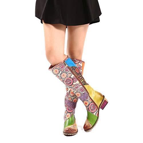 gracosy Stiefel Hoch Damen, Leder Stiefel mit Absatz 2019 Winter Schuhe Rutschfeste Schneestiefel Bunt Druck Chic Stiefel Bequeme Outdoor Knee Stiefel Flache Reißverschluss Langschaft Boots Schuhe