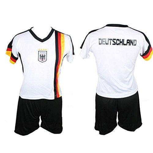 Kinder Deutschland Trikot Set Trikot und Hose WM EM Germany Kids verschiedene Größen (XS / 110/116) (Frankreich Kostüm Für Jungen)