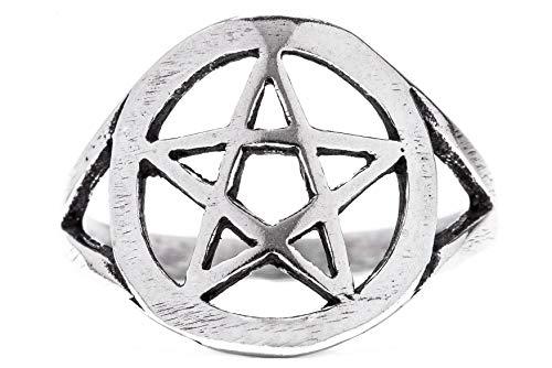 Windalf Anello di protezione Pentas H: 1.4cm pentagramma gioielli antichi in argento Sterling 925 e argento, 72 (22.9), colore: argento, cod. r458-72