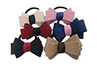 Ysting Colorful Bow Tie Decor Elastic Hair Rubber Band Ponytail Holder (Pack of 6)
