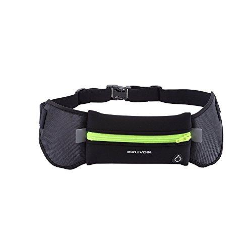 Sport Hüfttasche, P.KU.VDSL Sport Laufgürtel Gürteltasche Bauchtasche Lauftasche Hip Bag mit Trinkflasche Wasserdicht für Handy im Laufen Joggen Wander (A - Grün)