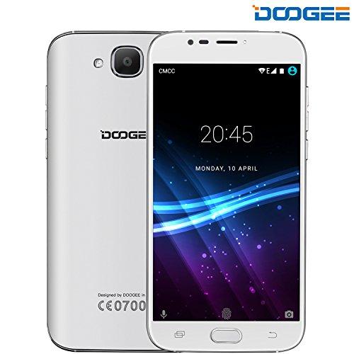 Smartphone Dual SIM, DOOGEE X9 MINI 5.0 Pollici HD IPS Schermo Telefonia Mobile Android 6.0 - 3G Quad Core Telefoni Cellulari con 1GB RAM+8GB ROM - 5.0MP Fotocamera e Sensore di Impronte Digitali - Bianco