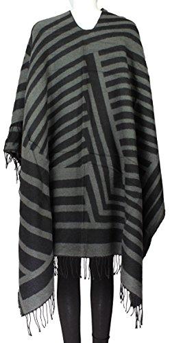 Poncho Cap Femme Châle tube XL Hiver Ponchos Femmes en Laine noir/gris