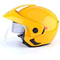 GaLon Casco de Ciclismo Casco de Coche eléctrico Casco de ciclomotor Casco Medio Unisex de Cuatro Estaciones (Color : Yellow)