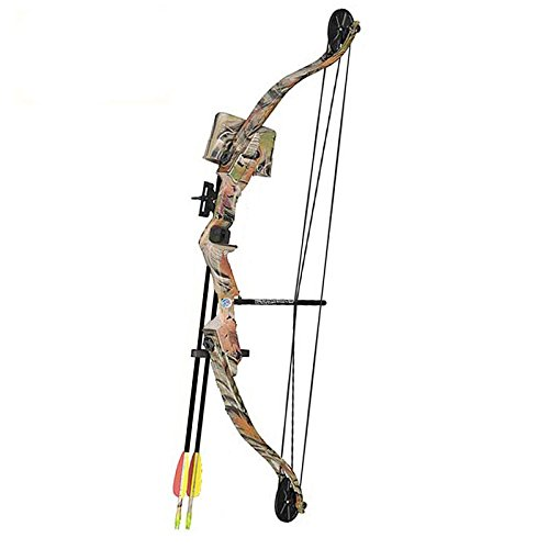 "SET: Compoundbogen Hawk® 33 "" (84 cm) Autumn Camo 25 lbs Cable Wire RH - Kinderbogen / Jugendbogen"