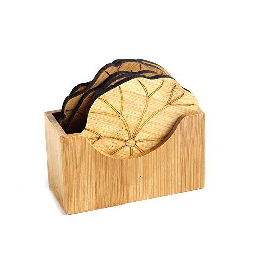 Cikuso Natuerliche Bambus Drink Coaster Set Runde kreative Tischset Tasse Matte Pad Kaffeetassen Coaster Dekoration Untertasse Isolierung Lotus Blatt Bambus Coaster Set