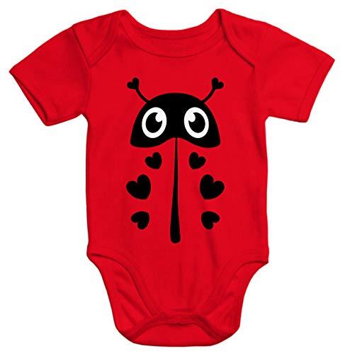 MoonWorks® Baby Body Kostüm Baby Marienkäfer Fasching Karneval dunkel-rot 0-3 - 0 3 Monat Marienkäfer Kostüm