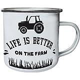 La Vida Es Mejor En La Granja Con El Tractor Retro, lata, taza del esmalte 10oz/280ml n187e