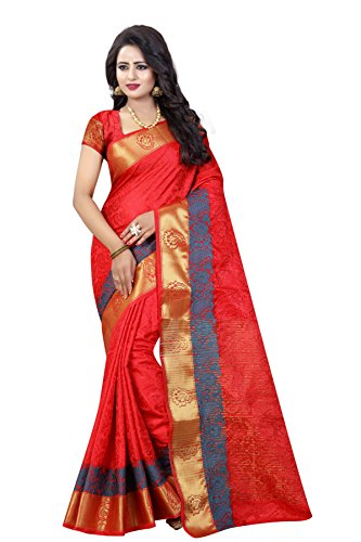 SATYAM WEAVES Women's Cotton Silk Red Colour Saree With Blouse Piece…