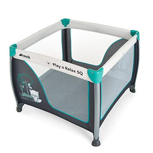 Hauck Play N Relax SQ - Cuna parque ligero 3 piezas, 90 cm x 90 cm, cuna de viaje con base colchón y bolso de transporte, plegable y transporte fácil, gris