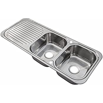 Stainless Steel Inset Kitchen Sink Double Bowl With Drainer ...