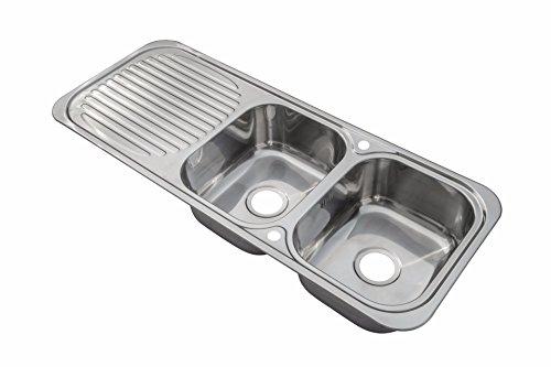 Grand Taps - Lavello da Cucina Doppio a Incasso in Acciaio Inox con gocciolatoio (E10 mr), Finitura Lucida