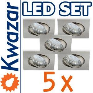 SUPER SET 5er: K-4 Schwenkbares Einbaustrahler + LED Lampe 20p /20W + GU10 Fassung 230V von Kwazar Leuchte