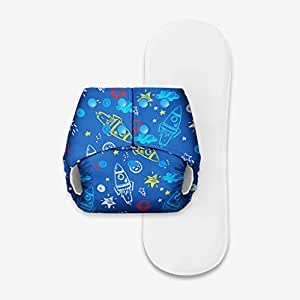 Basic Pocket Diaper with 1 Dry Feel Pad (One Size Adjustable Diapers, 5-17 kg) (Space)