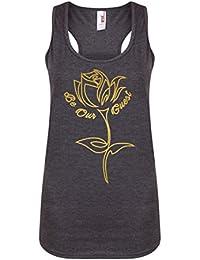 Be Our Guest - Dark Grey - Women's Racerback Vest - Fun Slogan Tank Top (Medium - UK Size 10-12, w/Gold)
