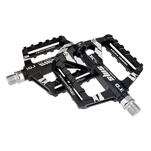 Upanbike Aluminium-Pedale mit 1,43 cm (9/16 Zoll) Dreifach-Lagerung und breiterer Plattform, geeignet für Mountenbikes, Rennräder, City-Fahrräder, schwarz