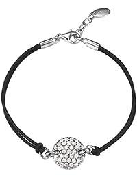 Esprit Damen Armband 925 Sterling Silber rhodiniert Stoff Zirkonia Nugget Glam 16 cm weiß S.ESBR91567A160