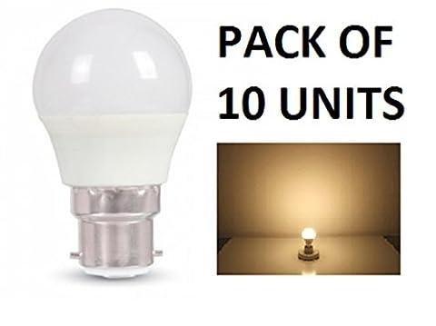 V-TAC LED 3W G45Golf Ball Leuchtmittel–Pack von 10–B22/BC/BAYONET Gap–Warm Weiß 2700K/250Lumen/Kunststoff-Finish/entspricht 25W Glühlampe/20.000Stunden durchschnittliche Lebensdauer/nicht dimmbar/220–240V–180Grad Abstrahlwinkel/50Hz/SKU: 7232X 10
