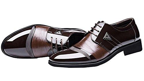 Neue Herren Business Schuhe Leder Formelle Schuhe Schwarz / Braun , brown , EU44=8.5UK=Label(45) (Herren Brown Label Neue)
