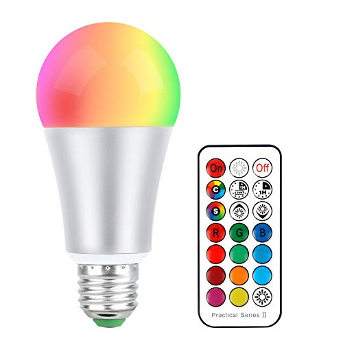 Bombillas Colores Led E27 10W, RGB + Blanco Cálido LED Bombilla Color Cambiantes Lámpara con Mando a Distancia, Regulable Cambio de Color iluminación Decoración para Casa Bar Fiesta KTV