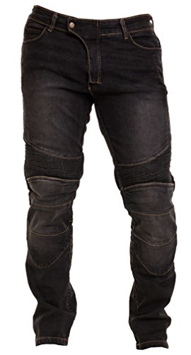 Qaswa Herren Motorradhose Jeans Motorrad Hose Motorradrüstung Schutzauskleidung Motorcycle Biker Pants, Black, 30W / 32L -