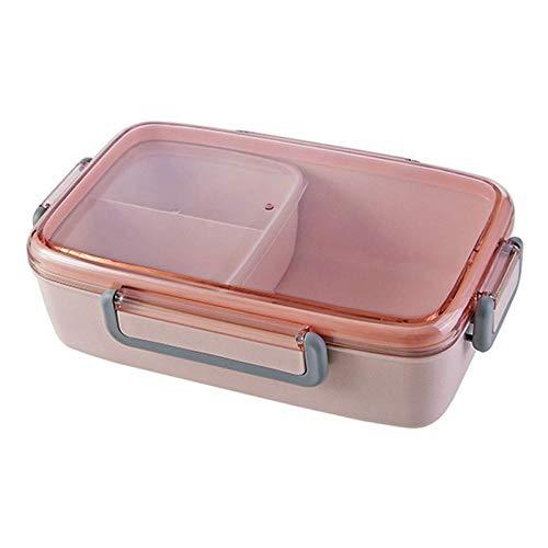 haiyan1 Bento Box Tragbare Brotdose Unabhängiges Gitter Rechteckige Brotdose Auslaufsicher Lebensmittelbehälter Mikrowelle Heizung Kunststoff @ Pink