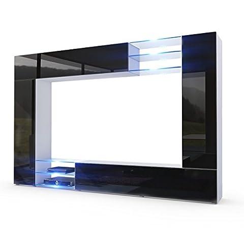 Wohnwand Anbauwand Mirage, Korpus in Weiß matt / Fronten in Schwarz Hochglanz inkl. LED Beleuchtung