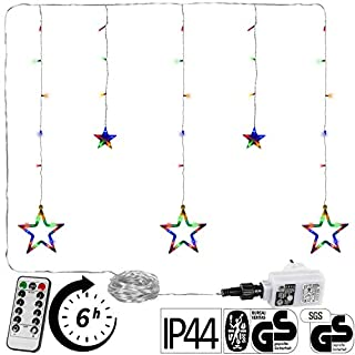 VOLTRONIC® 5 Sterne (61 LED) / 12 Sterne (150 LED) Lichtervorhang Lichterkette, GS geprüft, innen + außen (IP44), Timer, 8 Programme, Fernbedienung, warm-White/kaltweiß/bunt/warmweiß+kaltweiß