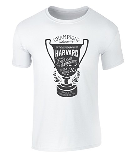 CALIFORNIA BLACK PLATE - University Sport Trophy, Uni Trophäe, Harvard Champions Cambridge Massachusetts Icon Vintage Style Grafik Herren T-Shirt, S - XXL White