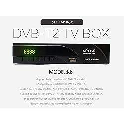 Décodeur TNT Full HD -DVB-T2 - Compatible HEVC265 1080P HD/DVB-T2/H.264/MPEG-4/Dolby/Multimedia - Récepteur/Tuner TV avec Fonction enregistreur