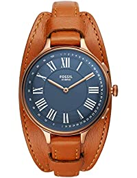 Fossil Eleanor - Hybrid Smartwatch Stainless Steel case and Tan Leather Strap with Activity Tracking,Smartphone Notifications for Womens - FTW5078